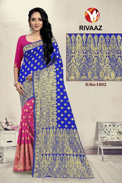 Rivaaz Pink & Blue Saree