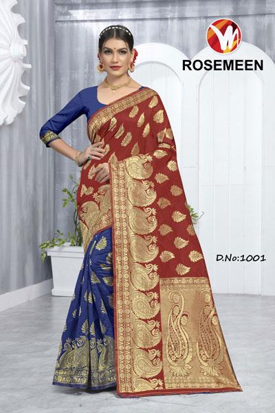 Rosemeen Blue & Brown Saree