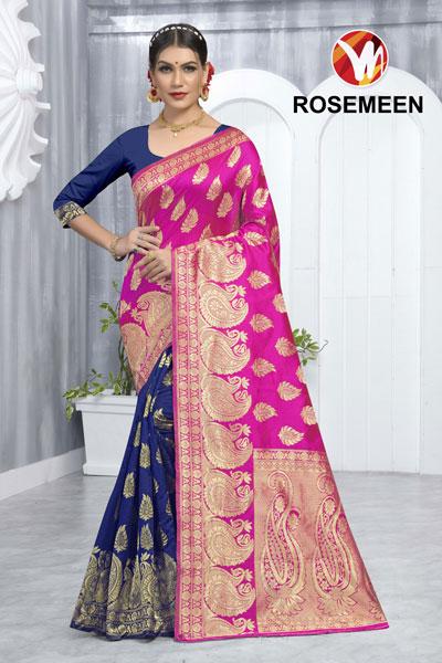 Rosemeen Blue & Pink Saree