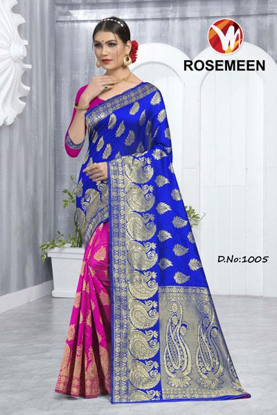 Rosemeen Pink & Blue Saree