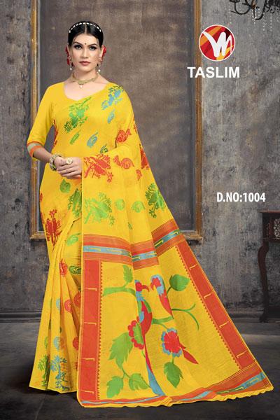 Taslim Yellow Saree