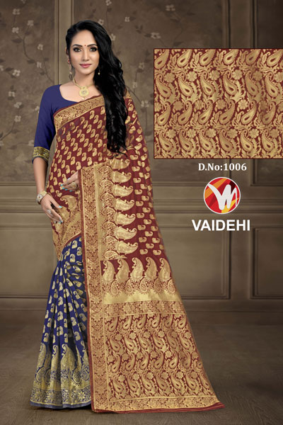 Vaidehi Dark Blue & Brown Saree