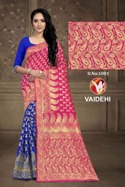 Vaidehi Blue & Pink Saree