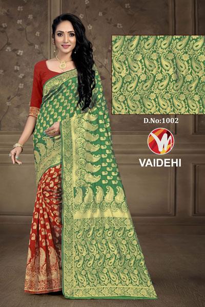 Vaidehi Mud & Green Saree