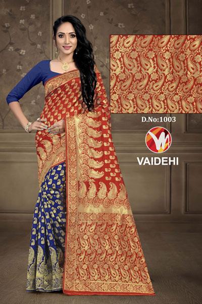 Vaidehi Blue & Mahroon Saree