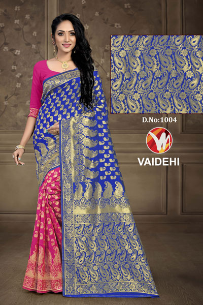 Vaidehi Pink & Blue Saree