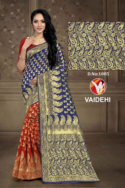 Vaidehi Mud & Blue Saree