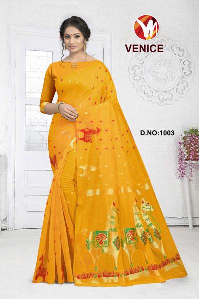 Venice Yellow Saree