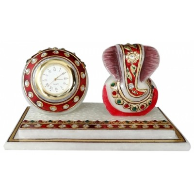 MARBLE BEAUTIFULL GANESH WITH TABLE CLOCK