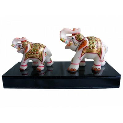 MARBLE ELEPHANT ON HAND EMBOSS ELEGANT PAINTING .ITS CALLED ELEPHANT FAMILY .ITS VERY UNIQUE PRODUCT FOR GIFT ON ANY OCCASION ..