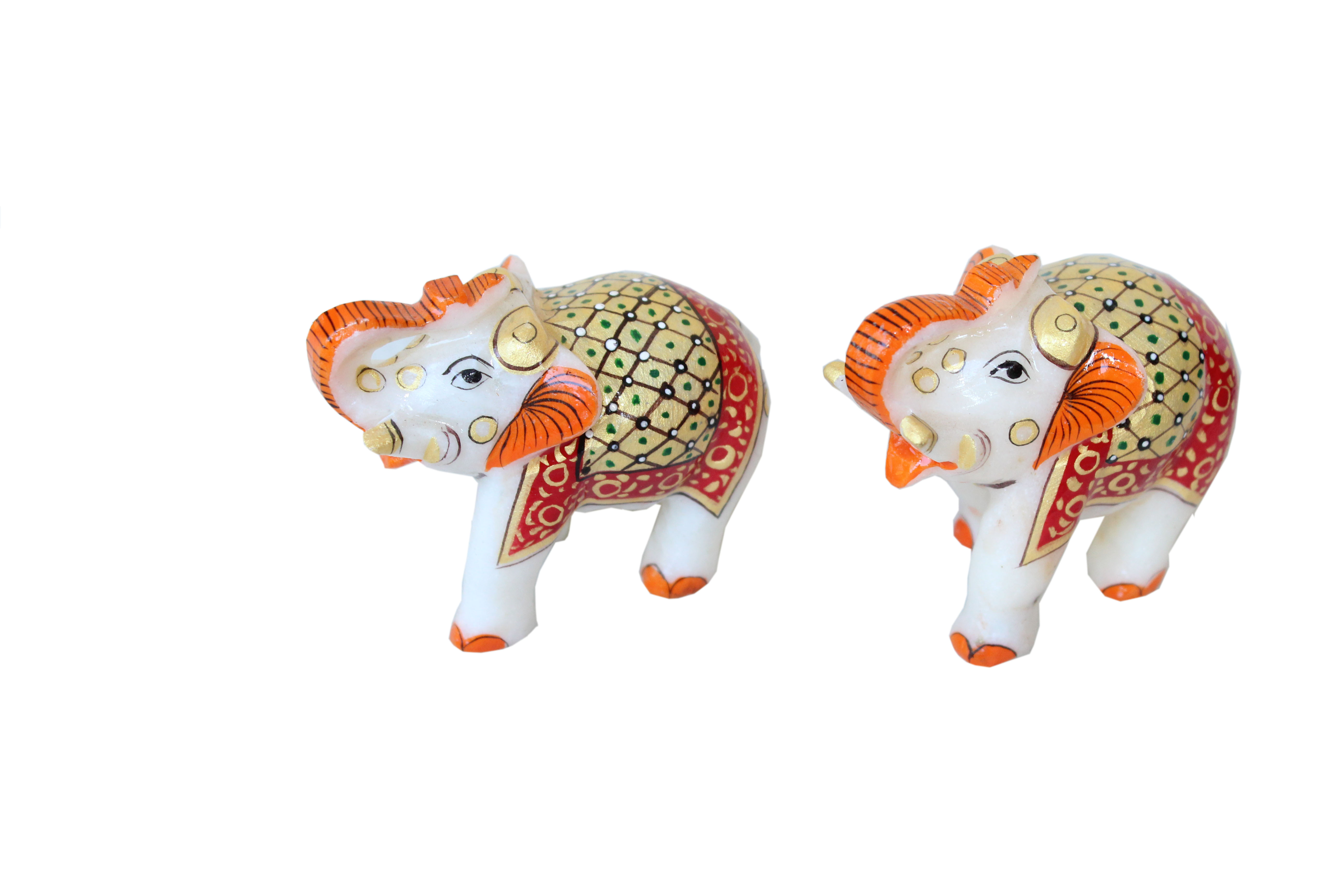 MARBLE  ELEPHANT PAIR ON HAND EMBOSS PAINITNG .