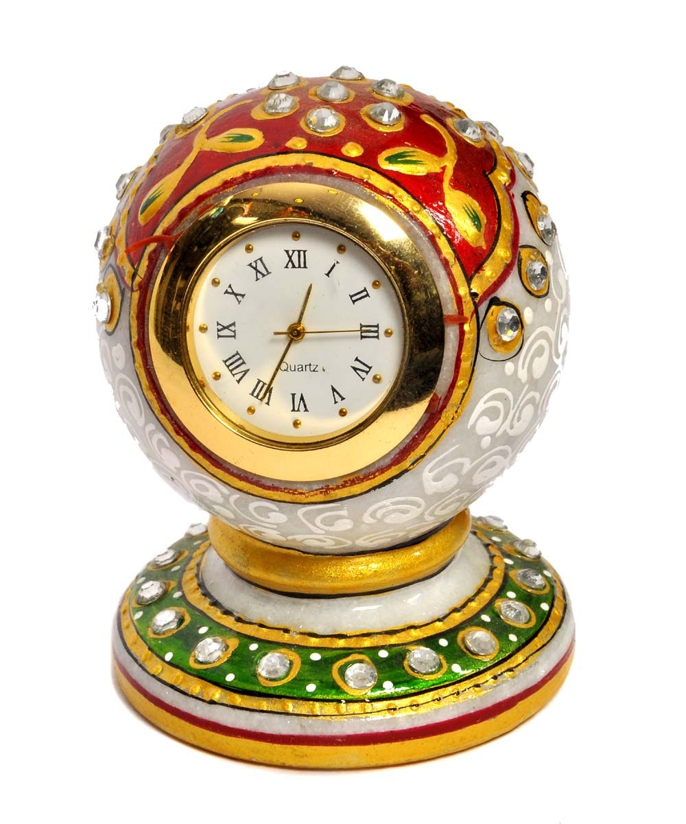 MARBLE EMBELLISHED WITH ELABORATE DESIGEN CLOCK