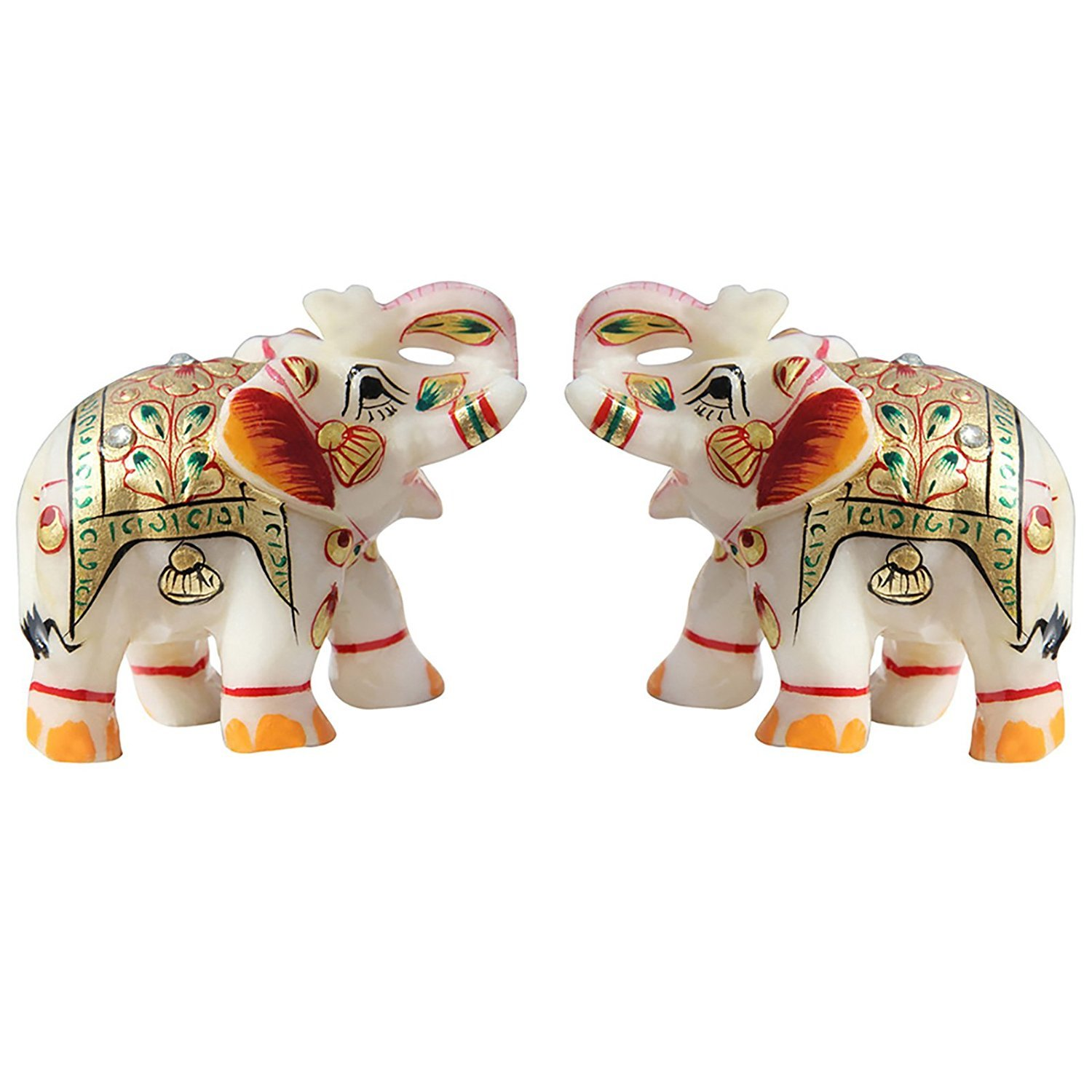 MARBLE ELEPHANT WITH GOLD EMBOSS PAINTING WORK