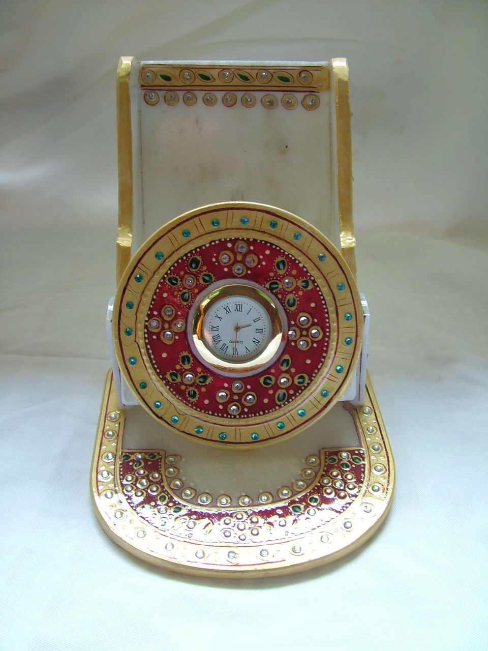 MARBLE MOBILE STAND WITH CLOCK