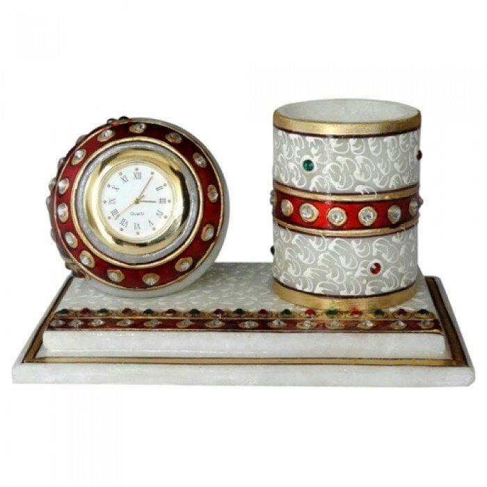MARBLE HANDPAINTING TABLE CLOCK WITH PENSTAND