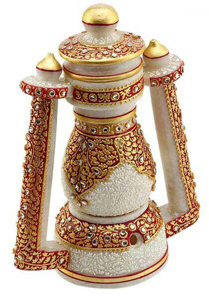 Artistic Marble Lantern With Hand Emboss Work