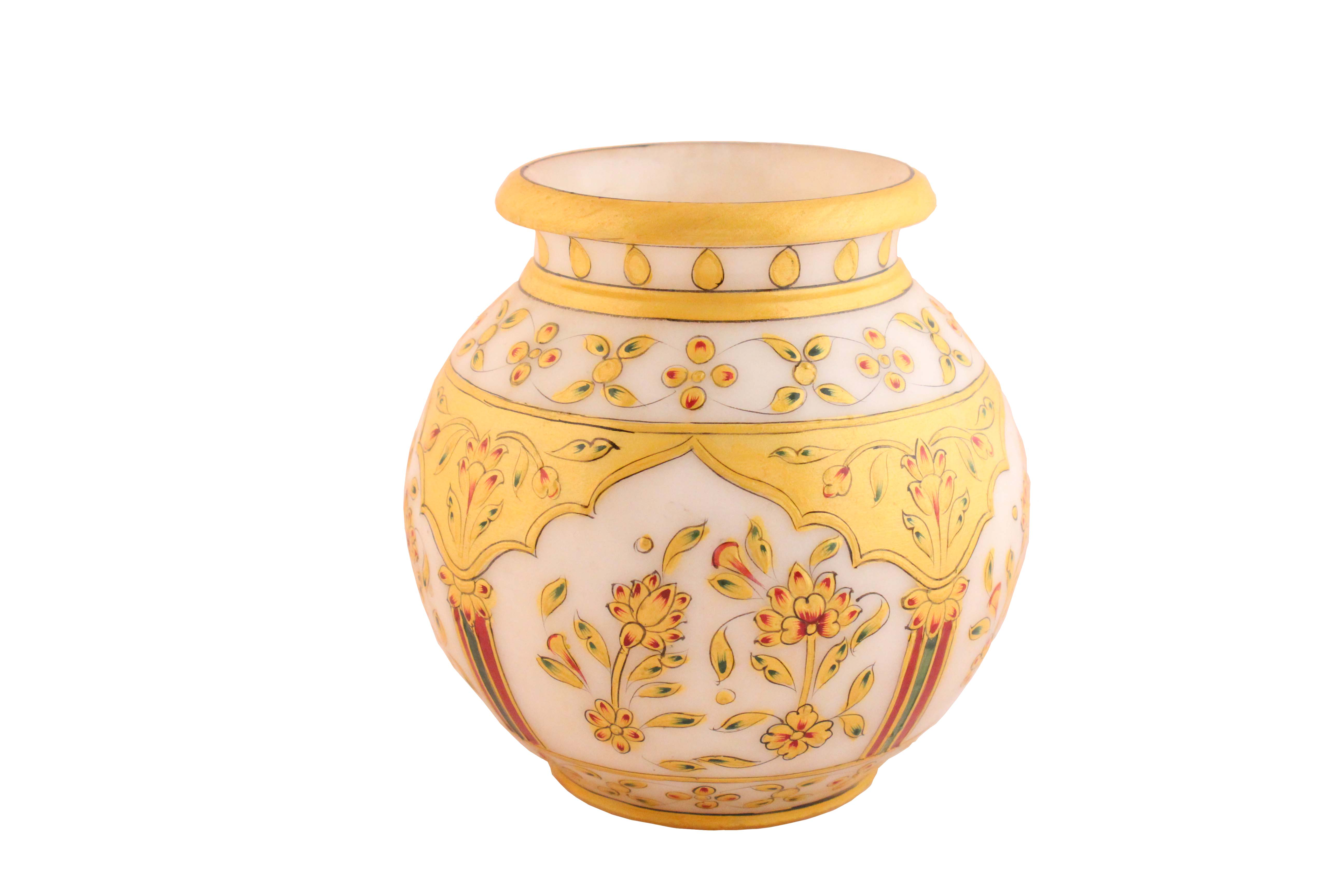 Marble Vase/kalash On Handmade Painitng