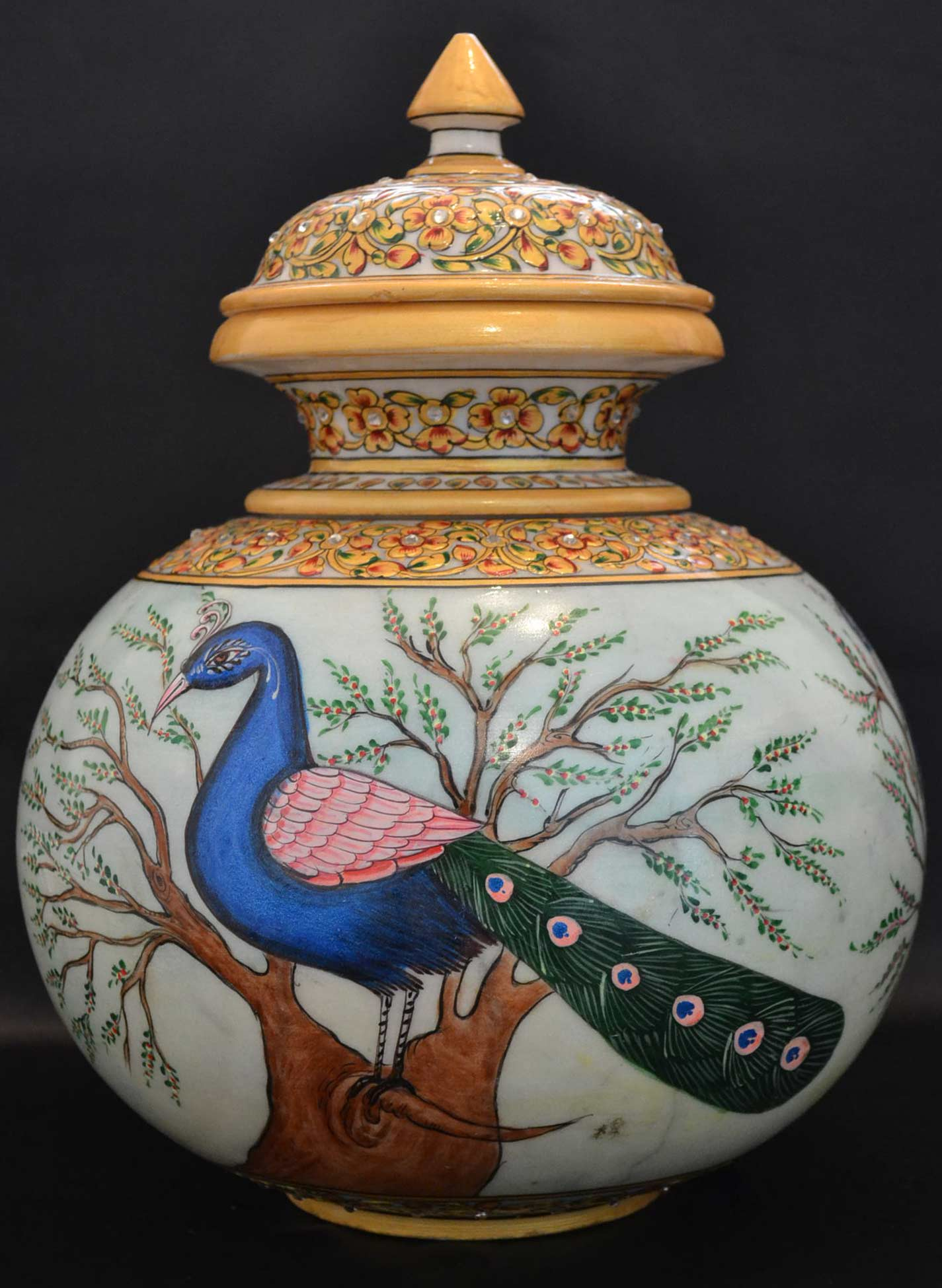 Handmade Beautiful Marble Vase Adorned With Peacock Handpainting