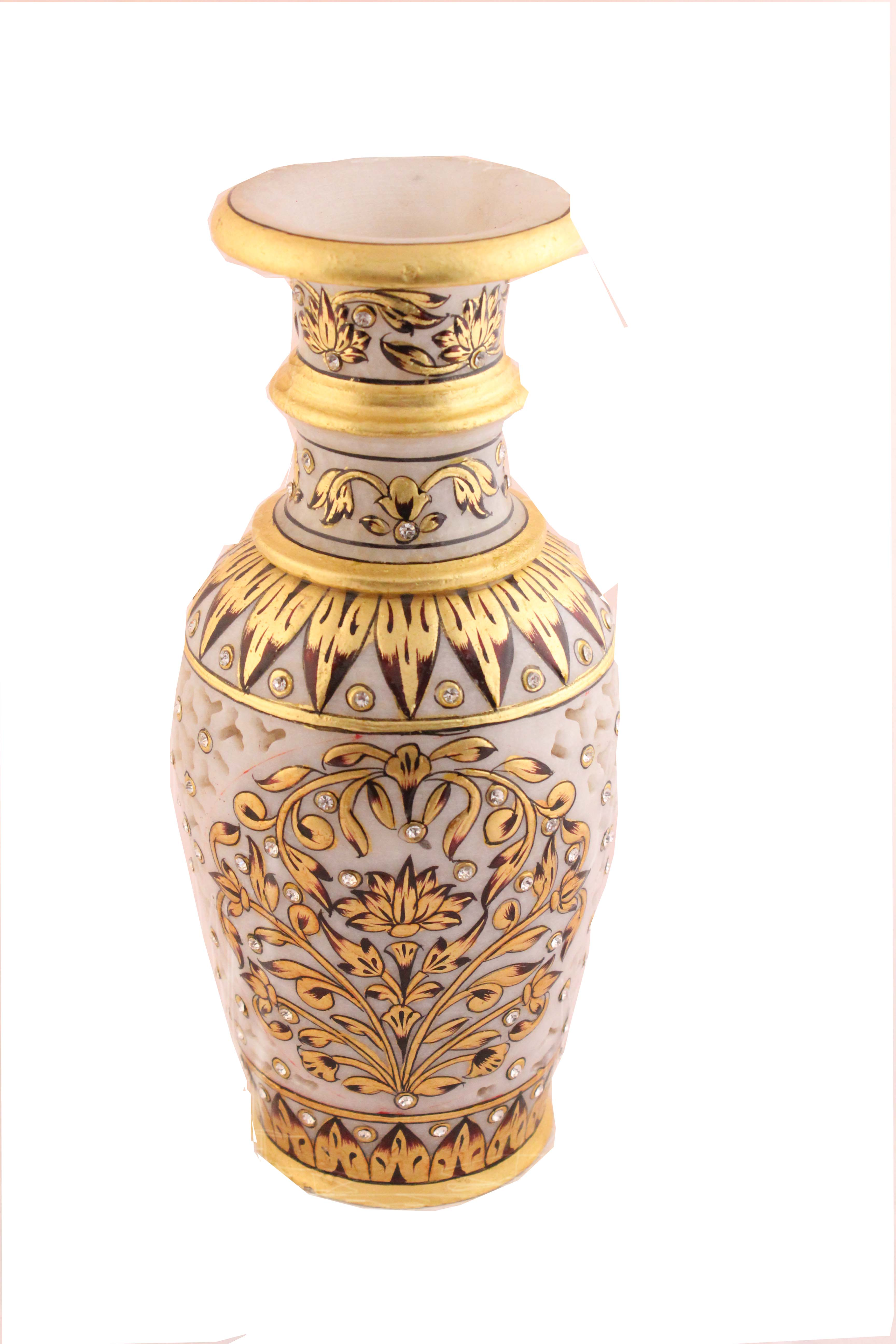 Marble Vase With Jaali Carving Work