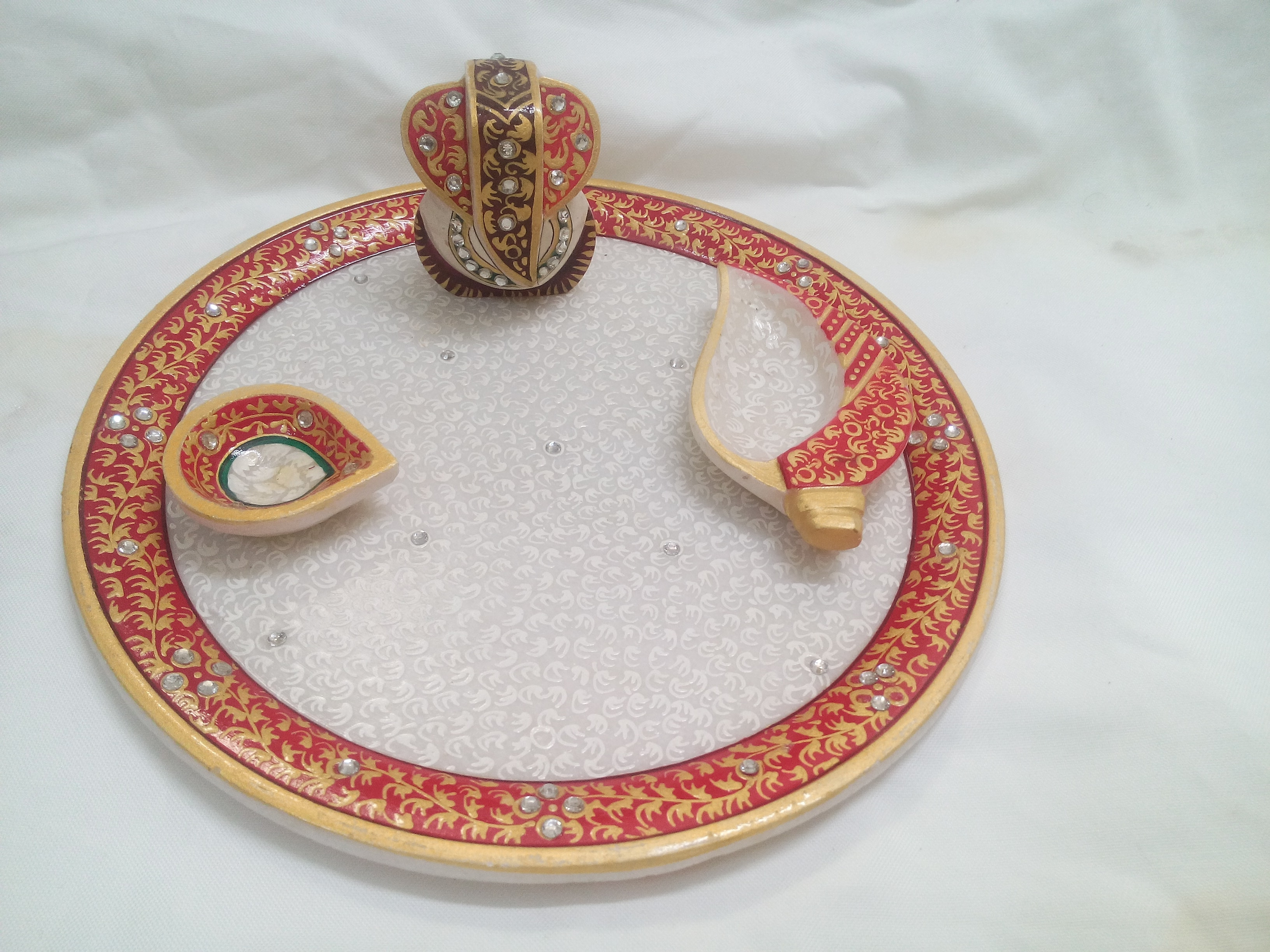 Marble Puja Thali With Handmade Painitng
