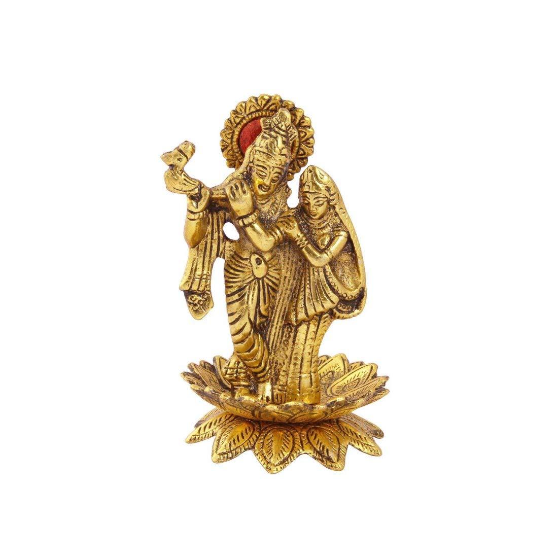 Metal Radha Krishna Statue Playing Flute On Lotus