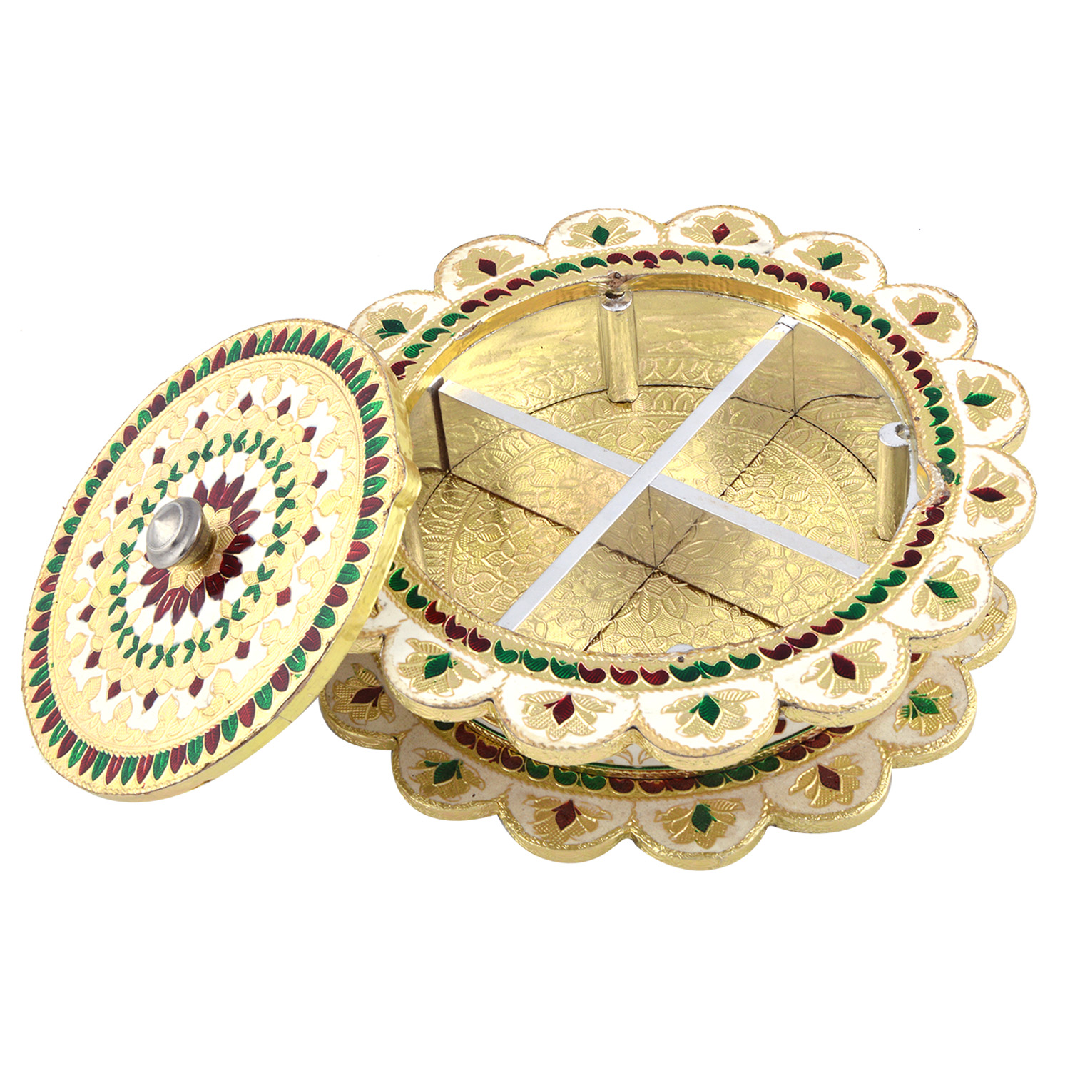 JK Handicraft Flower Shaped Golden White Meena Dry Fruit/ Multipurpose Box  (20cmX20cmX4cm)
