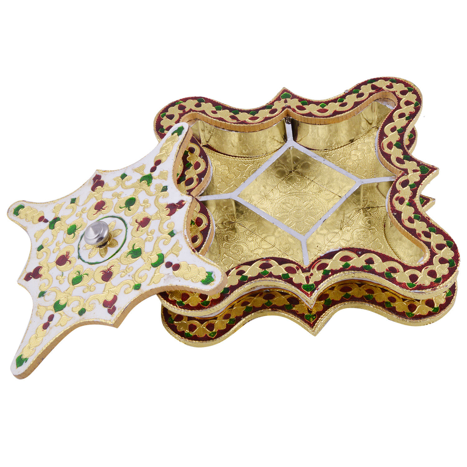 JK Handicraft Rangoli No. 2 Shaped Golden White Meena Dry Fruit/ Multipurpose Box  (20cmX20cmX4cm)