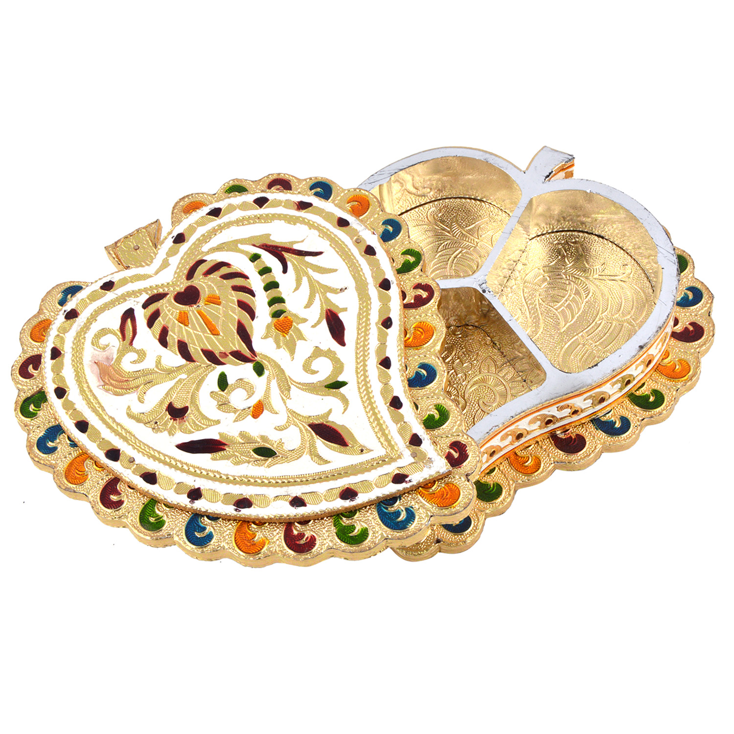 JK Handicraft Pan Shaped Golden White Meena Dry Fruit/ Multipurpose Box  (20cmX17cmX4cm)