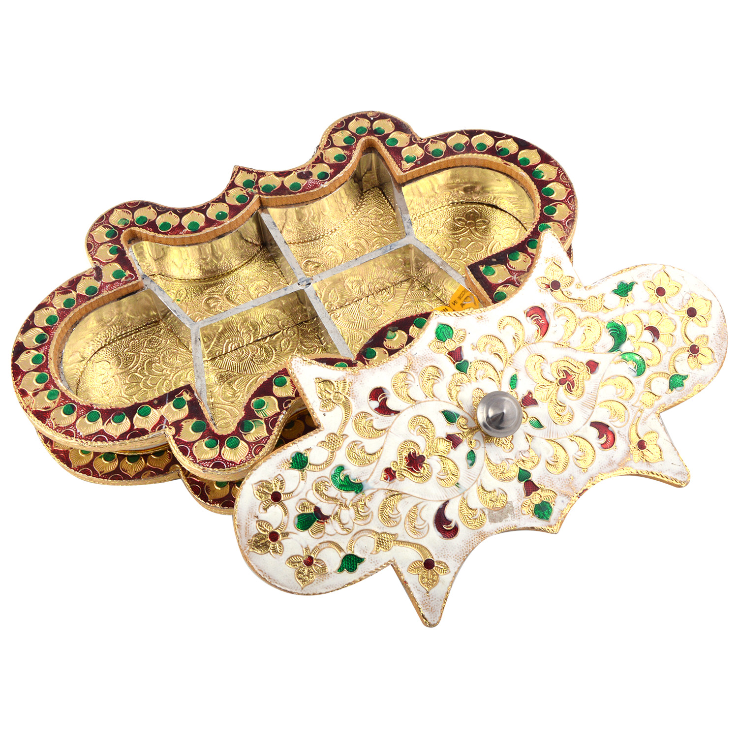 JK Handicraft Rangoli No. 3 Shaped Golden White Meena Dry Fruit/ Multipurpose Box  (16cmX29cmX4cm)