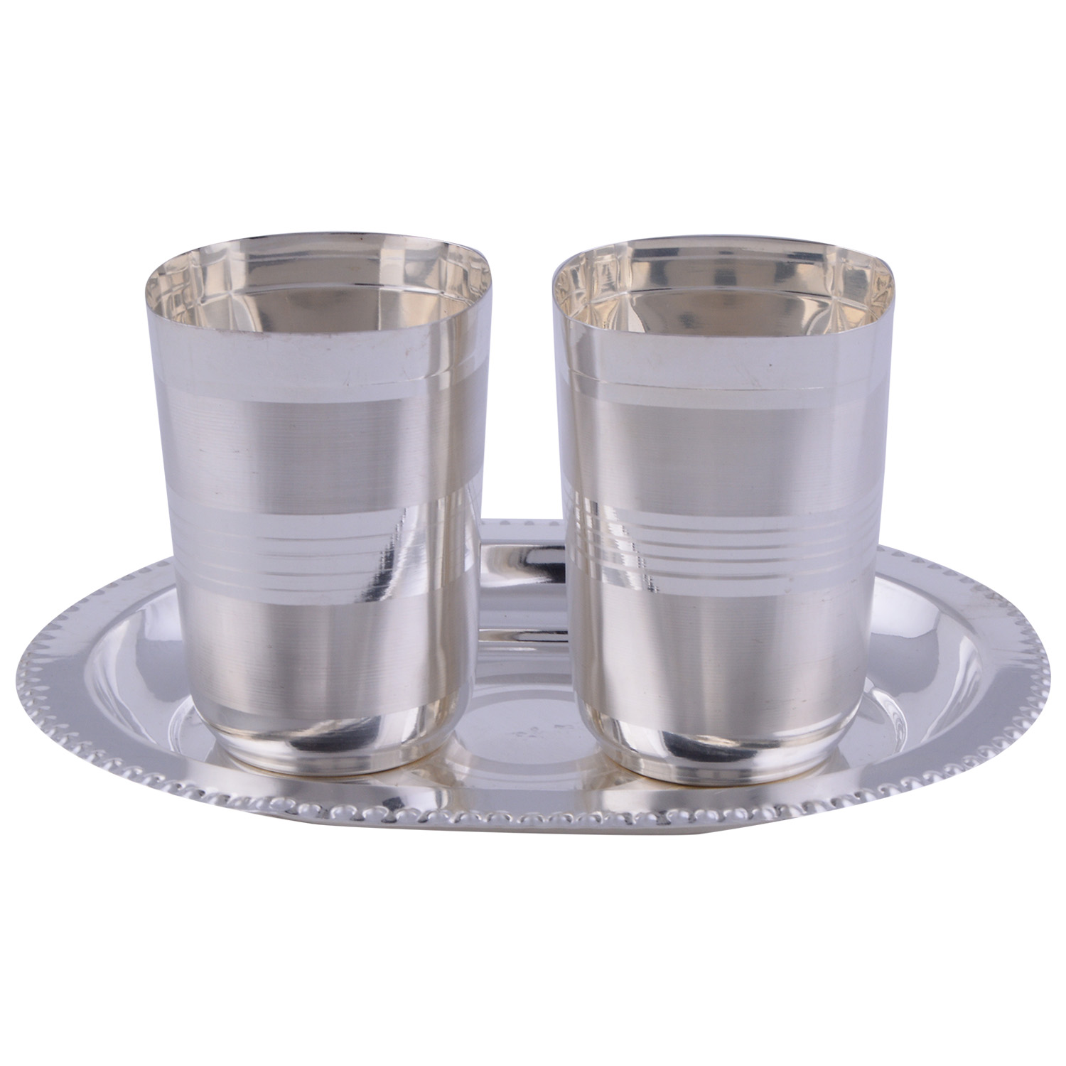 JK Silver Plated 2 Square Glow Glass Set 3 Pcs.