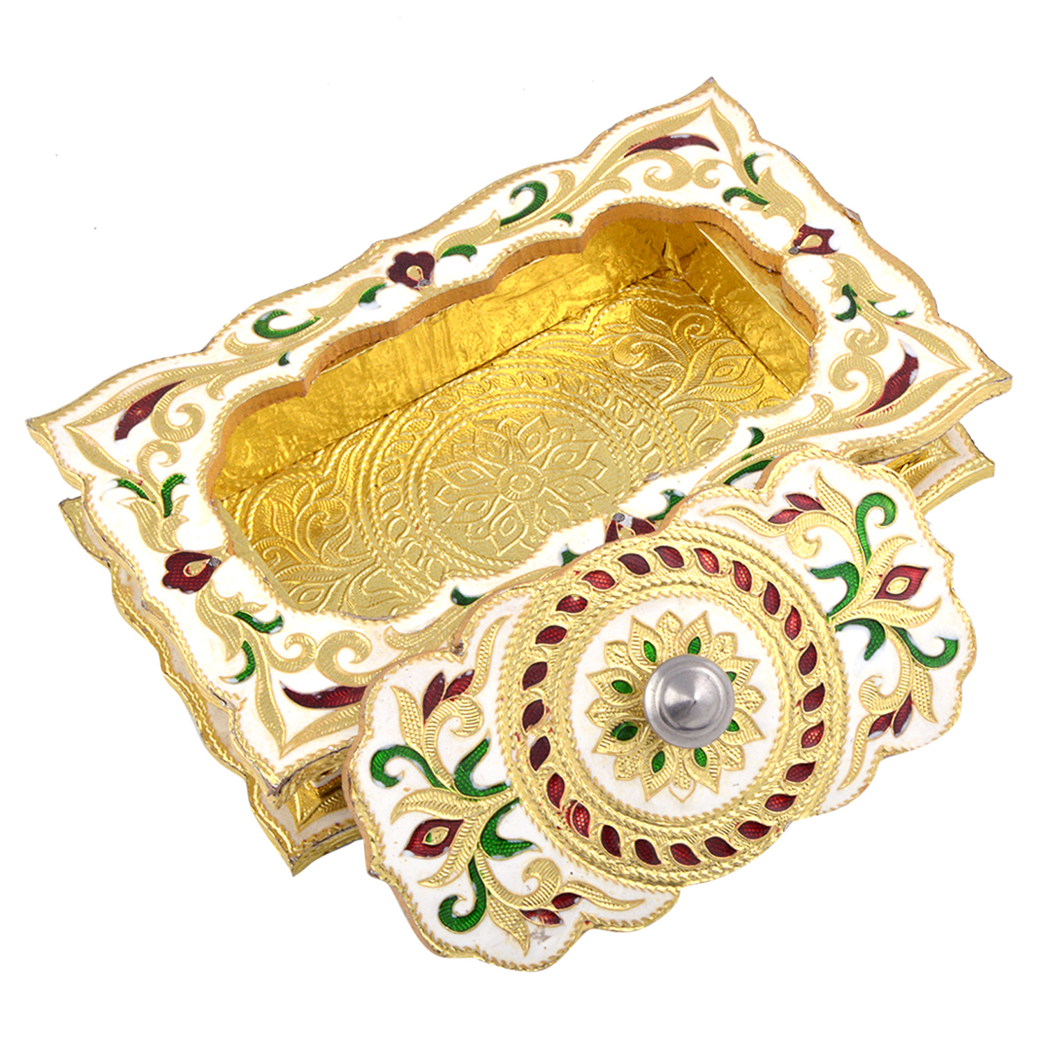 JK Handicraft Chocolate Shaped Golden White Meena Dry Fruit/ Multipurpose Box  (13cmX20cmX4cm)