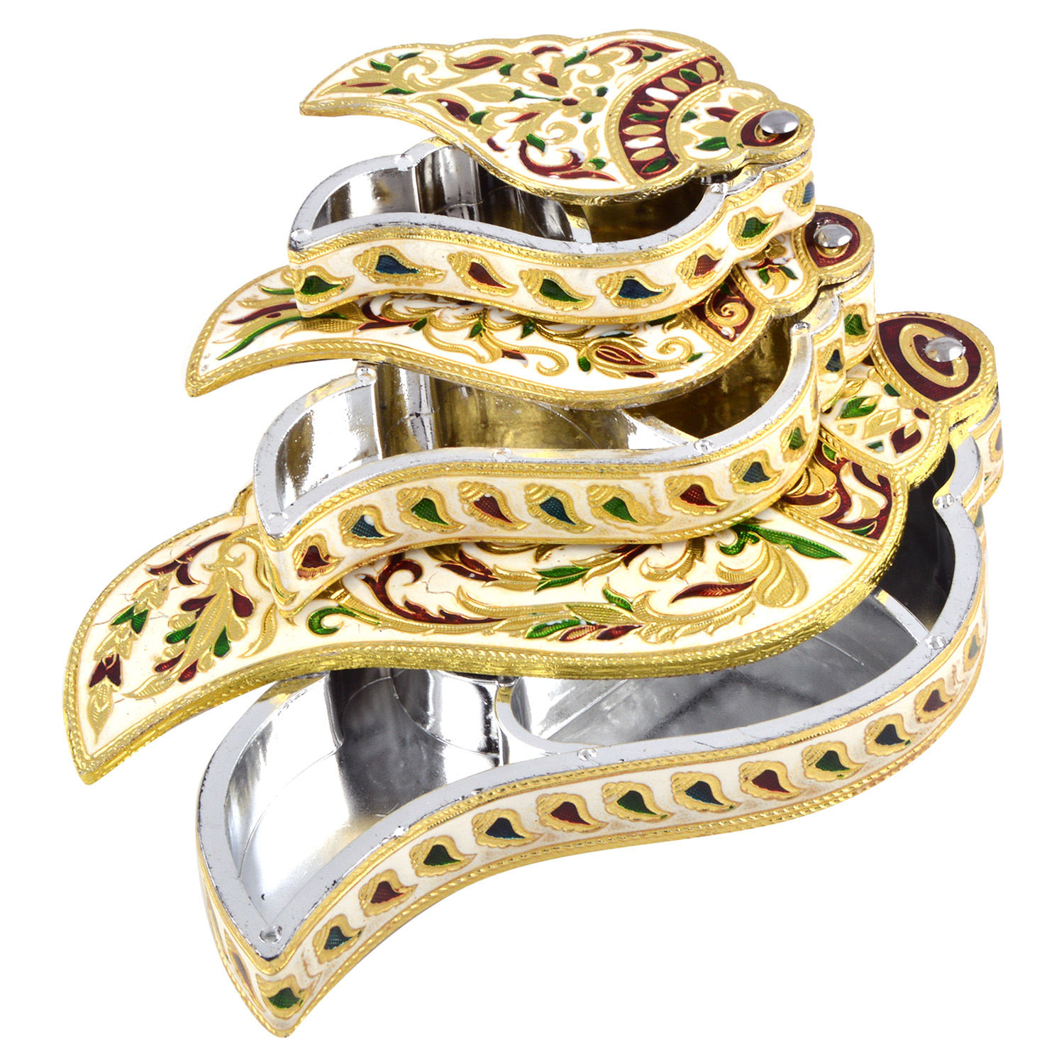 JK Handicraft Set Of 3 Shankh Shaped Golden White Meena Dry Fruit/ Multipurpose Box  (20cmX20cmX4cm)