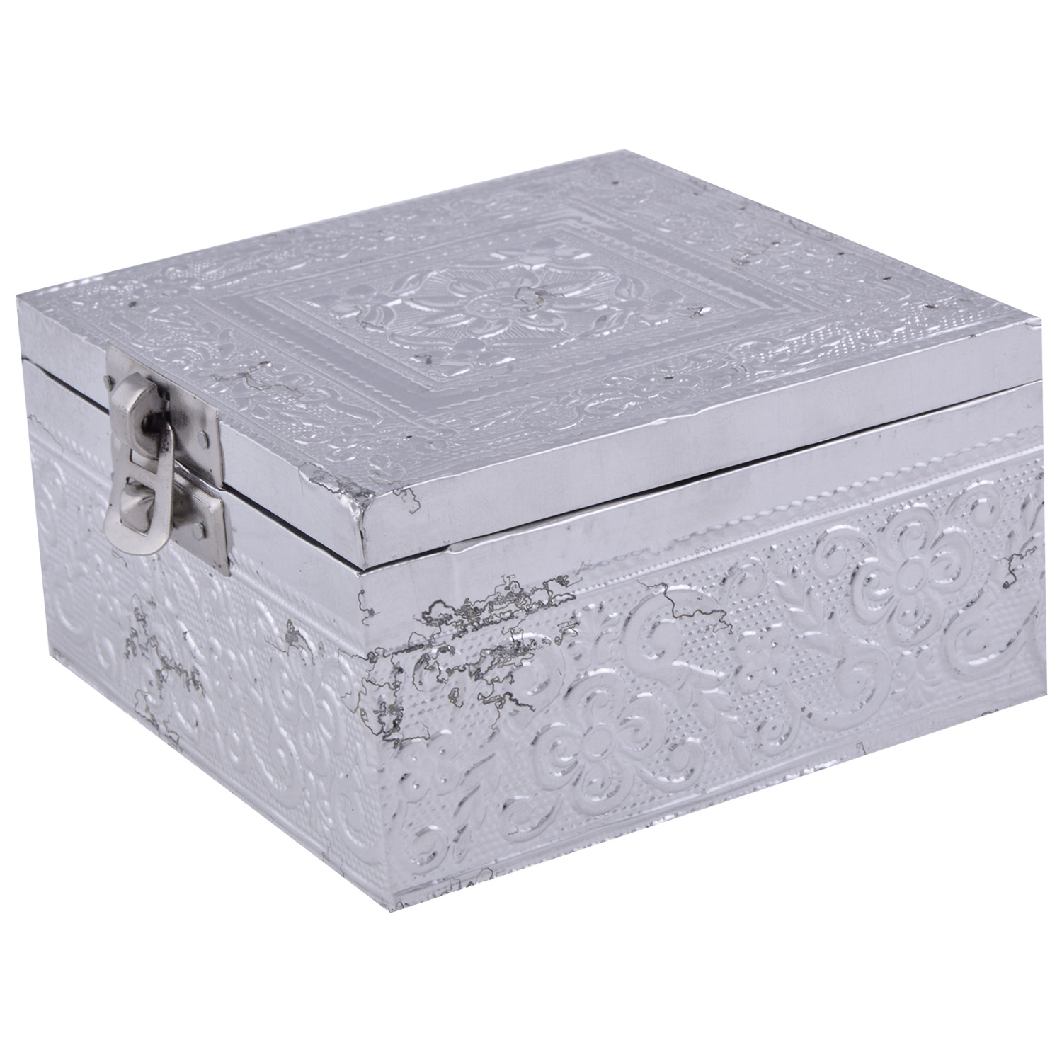 JK Handicraft 4x4 Silver Dry Fruit/ Multipurpose Box  (10cmX10cmX6cm)