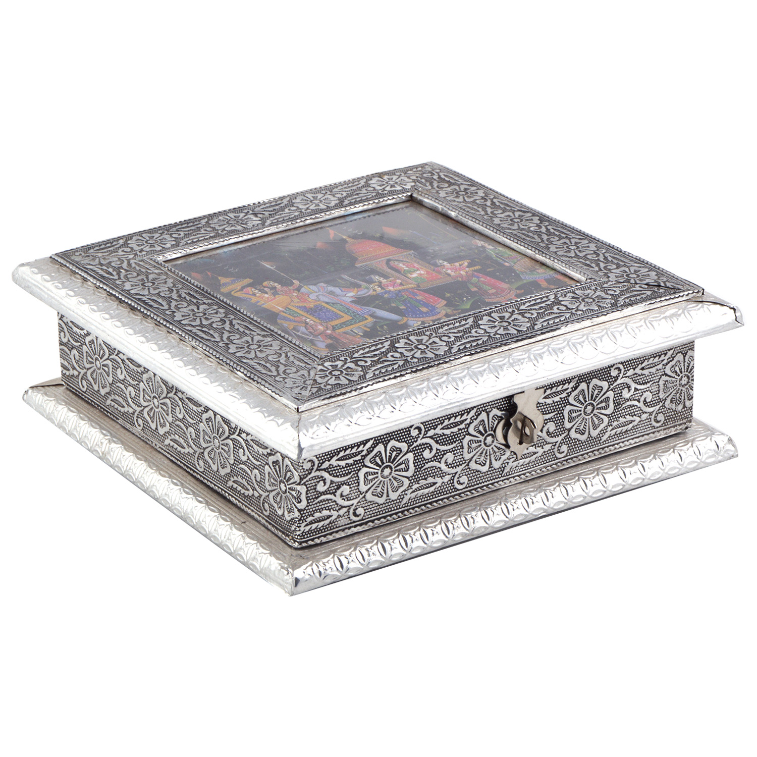 JK Handicraft 8x8 Oxidised Dry Fruit/ Multipurpose Box  (20cmX20cmX6cm)