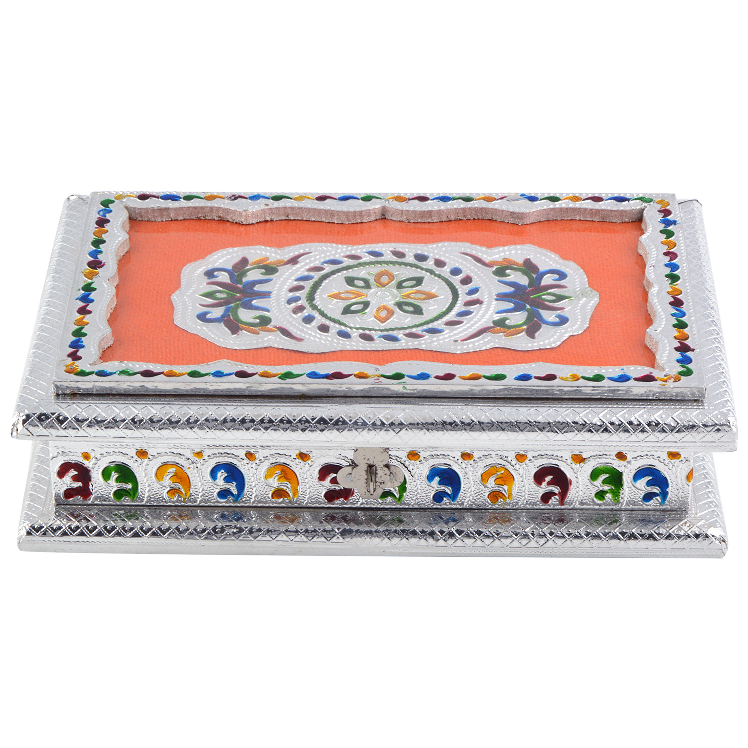 JK Handicraft 10x7 Silver Meena Dry Fruit/ Multipurpose Box  (18cmX25cmX6cm)