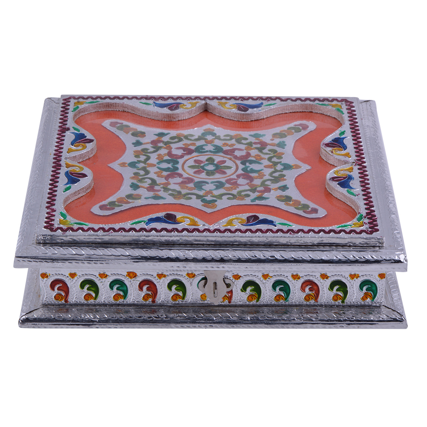 JK Handicraft 10x10 Silver Meena Dry Fruit/ Multipurpose Box  (25cmX25cmX6cm)