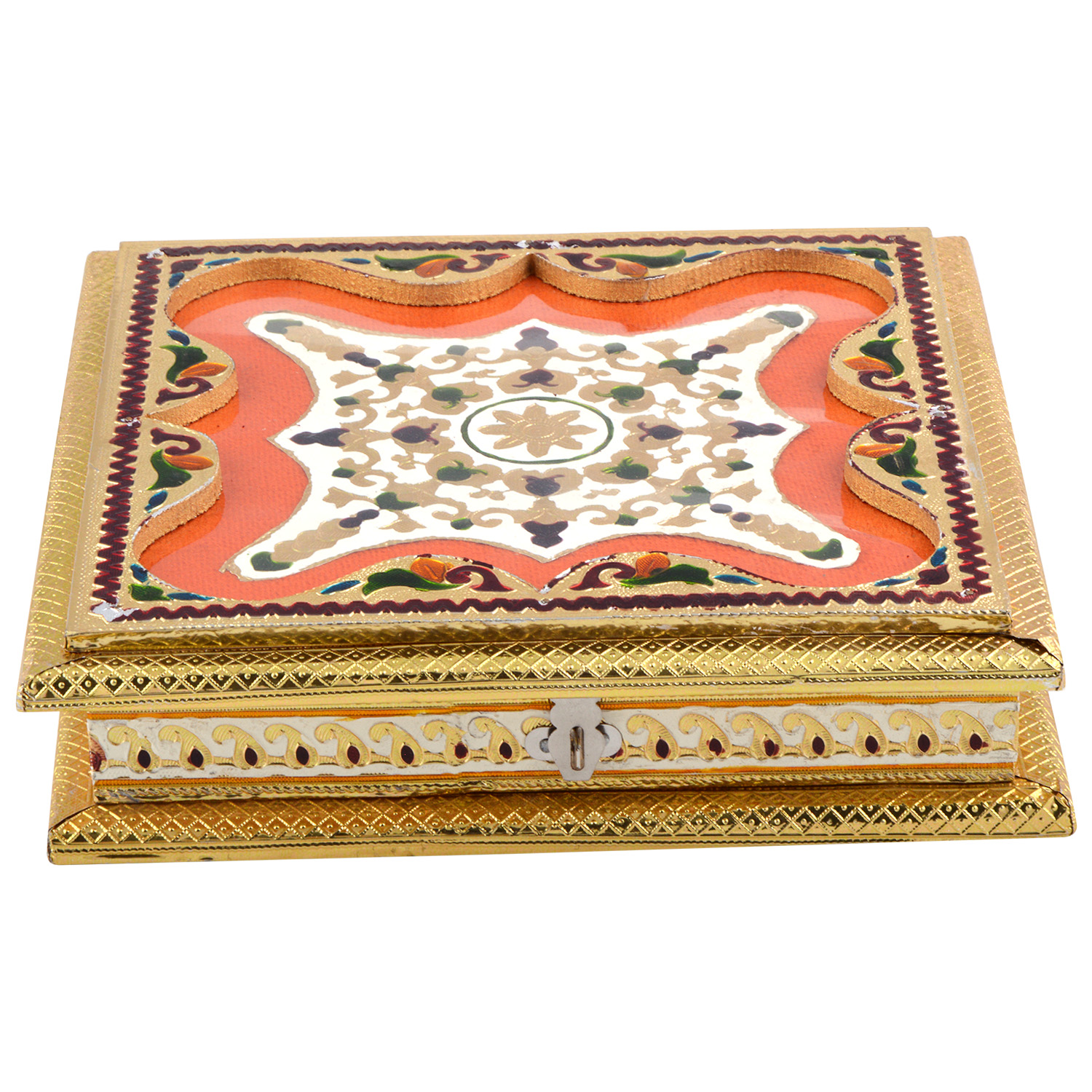 JK Handicraft 10x10 Golden White Meena Dry Fruit/ Multipurpose Box  (25cmX25cmX6cm)