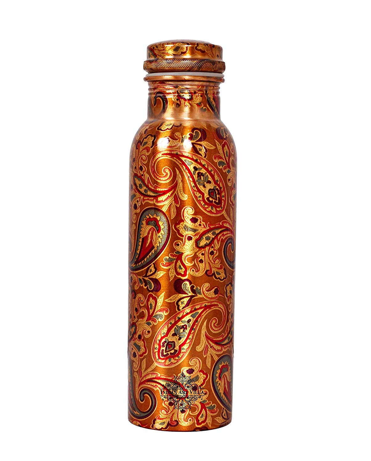 Jaipurikala Copper Flower Print Water Bottel With Glass