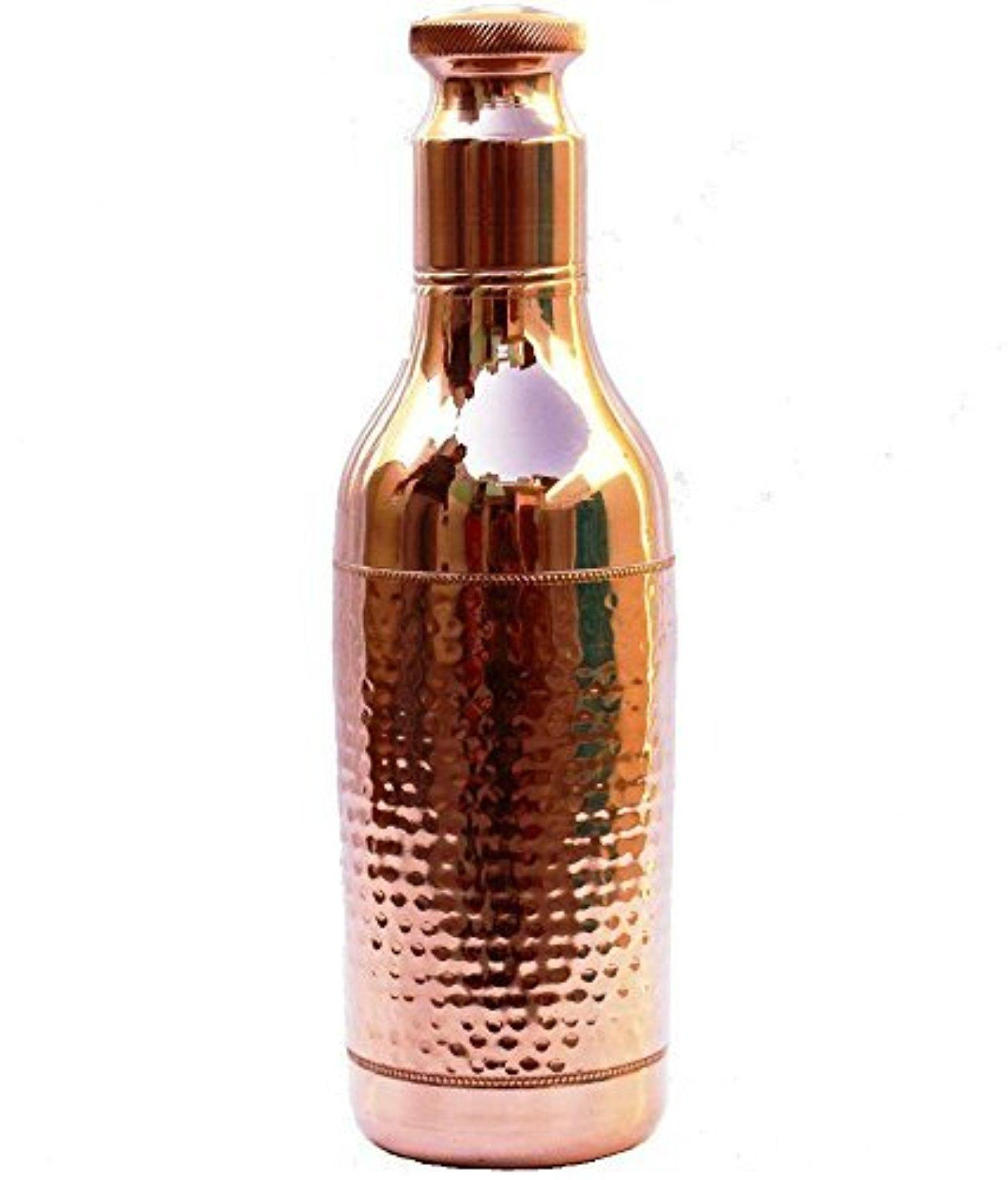 Jaipurikala Copper Water Bottel With Glass