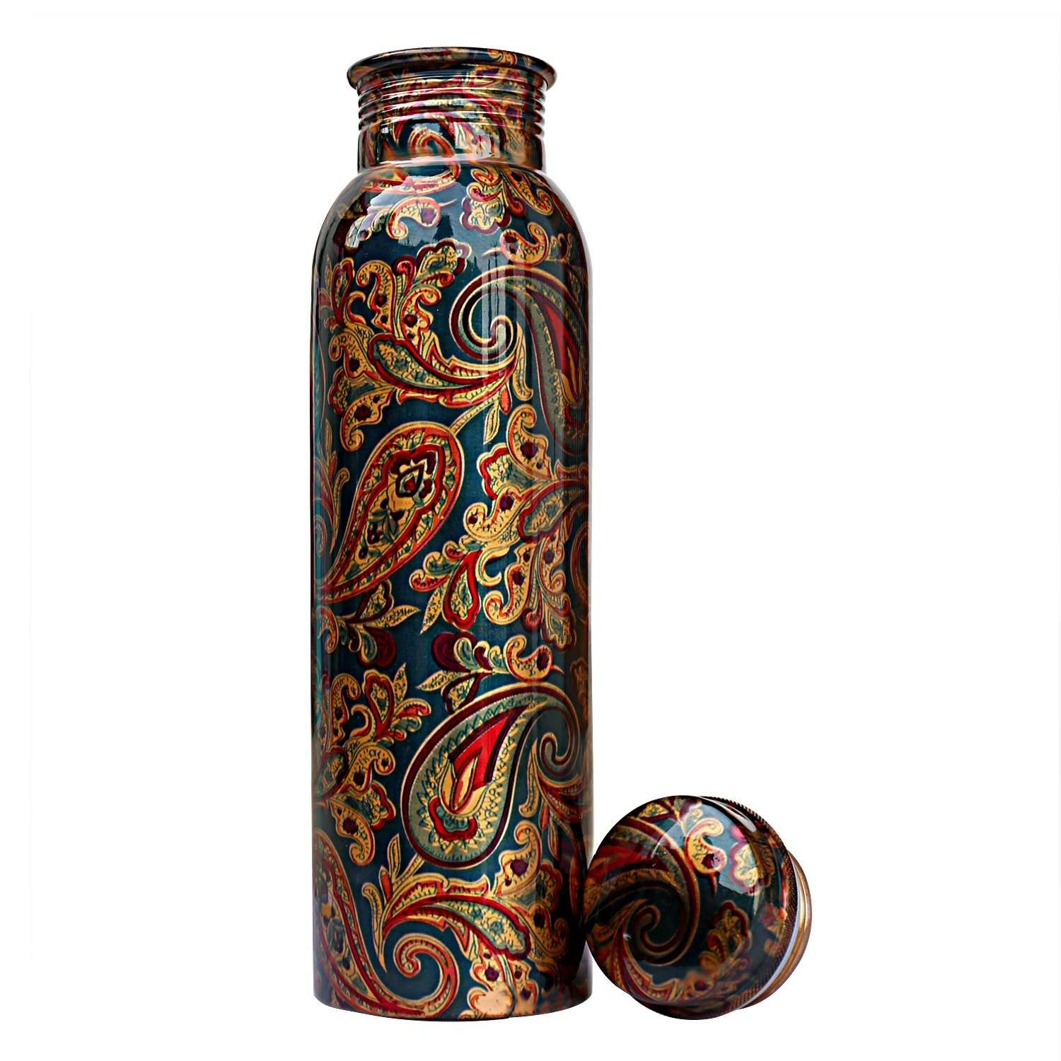 Jaipurikala Copper   Water Bottel  With Flower Print