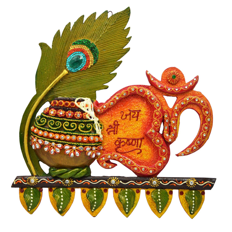 Decorative Lord Krishna Pecock Pankh With Om And Matki